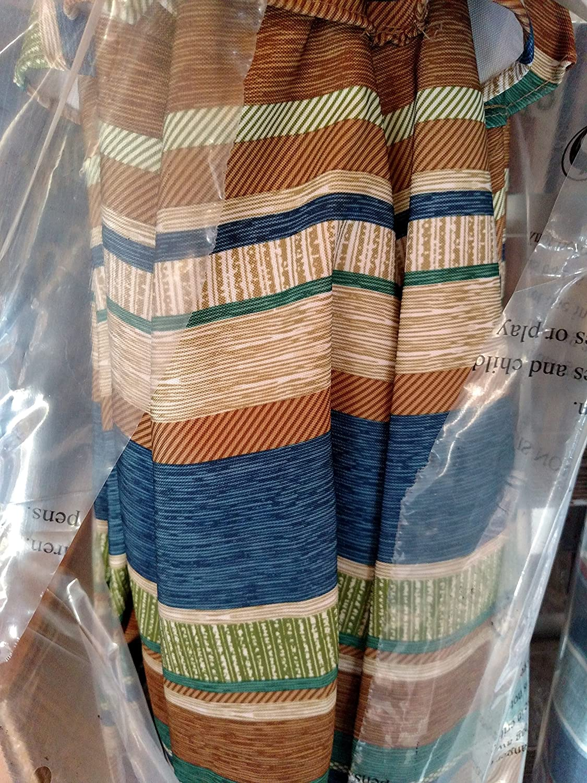 Nantucket 9 Brown Green Tan Blue Striped Cabana Crank Tilt Market Umbrella