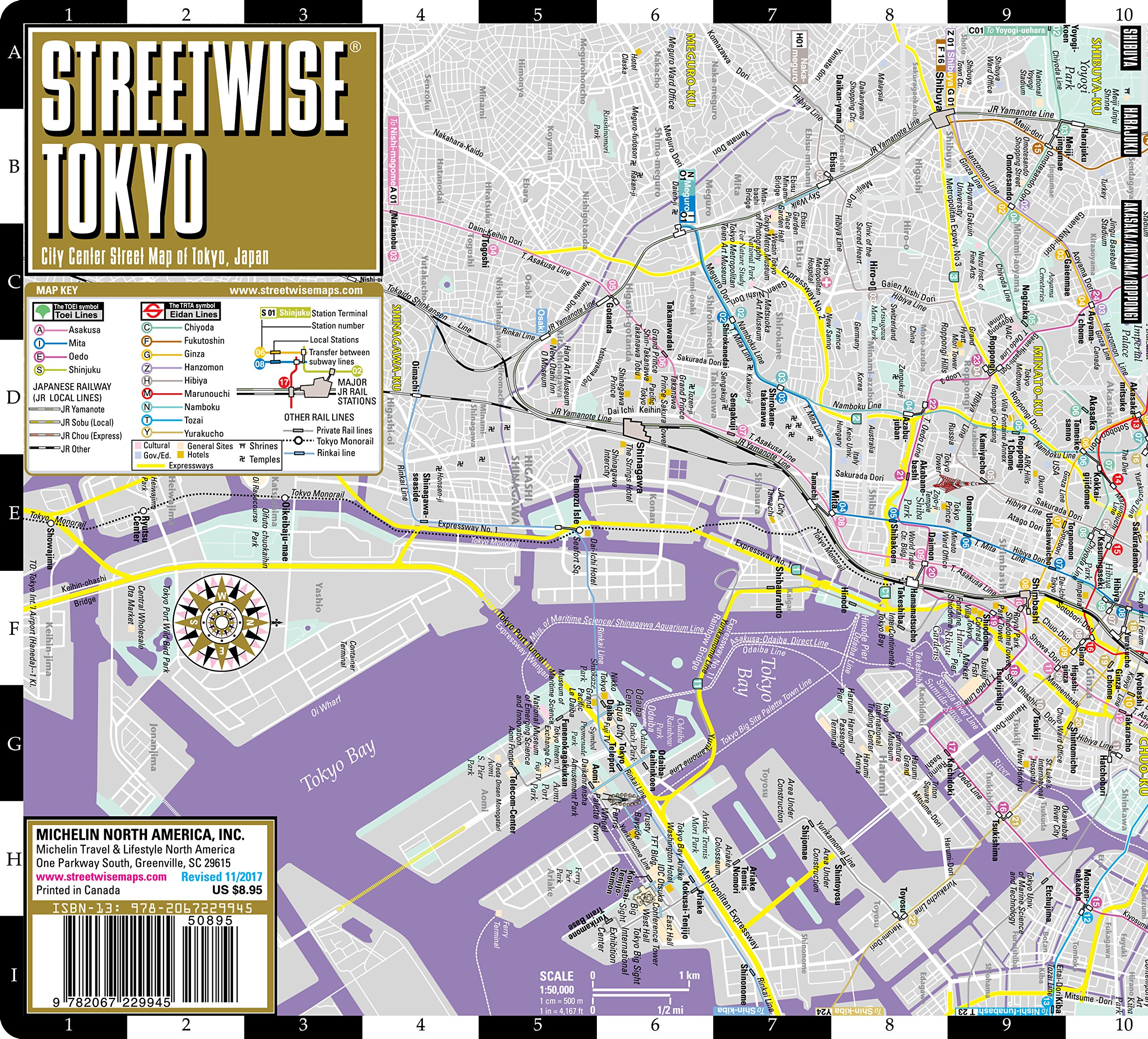 Tokyo Station Subway Map.Streetwise Tokyo Map Laminated City Center Street Map Of Tokyo
