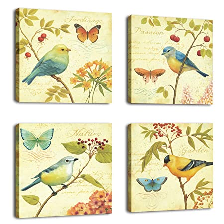 CUFUN Art-Bird and Flower 4 Piece Stretched and Framed Artwork ...