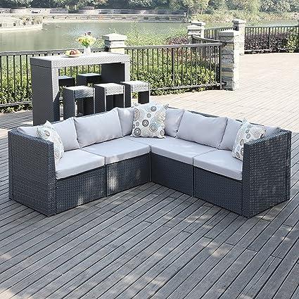Portfolio Aldrich Grey Indoor/Outdoor 5 Piece Patio Sectional Set