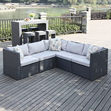 Portfolio Aldrich Grey Indoor/Outdoor 5 Piece Patio Sectional Set