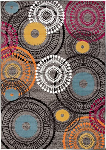 Rugshop Contemporary Circles Area Rug 10' x 14' Multi