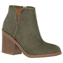 1af4d0a3226c MVE Shoes Soda Womens Target Perforated Stacked Block Heel Ankle Bootie -  Casual Women s Shoes