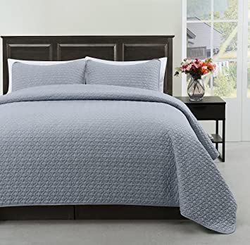 Madison King/Cal King Size Bed 3pc Quilted Bedspread Stone Blue Color Bed  Cover