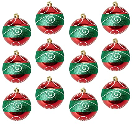 Large Christmas Ornaments.Juvale 12 Pack Christmas Tree Ornaments Red And Green Shatterproof Large Christmas Balls Decoration Classic Holiday Design With Glitter Hanging