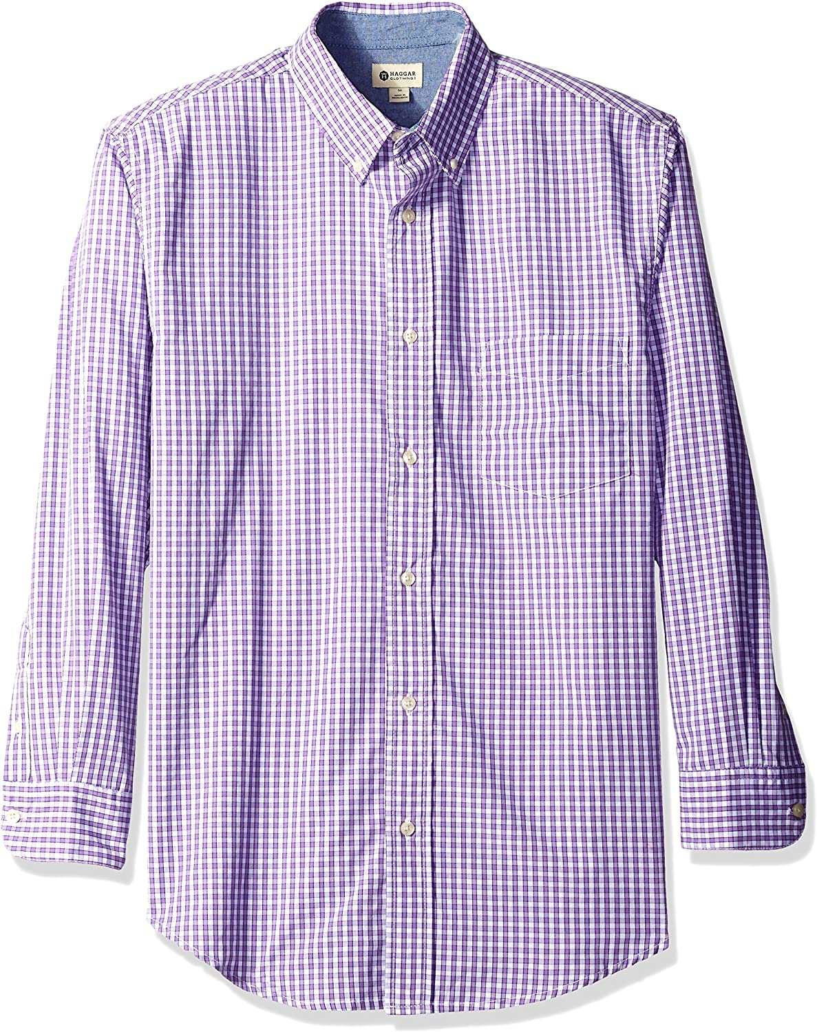 Haggar Mens Long Sleeve Peached Poplin Woven Shirt