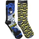 Hyp DC Comics Batman Grey Pattern Men's Crew Socks 2 Pair Pack Shoe Size 6-12