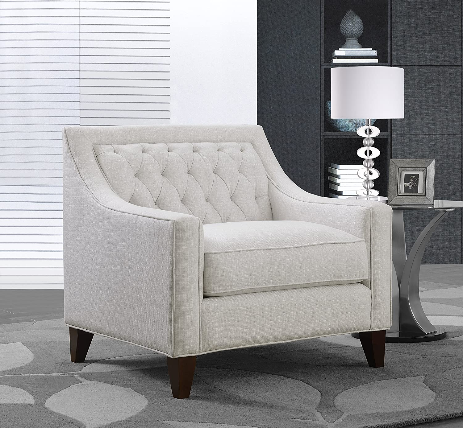 Iconic Home Aberdeen Linen Tufted Back Down Mix Modern Contemporary Club Chair, Beige