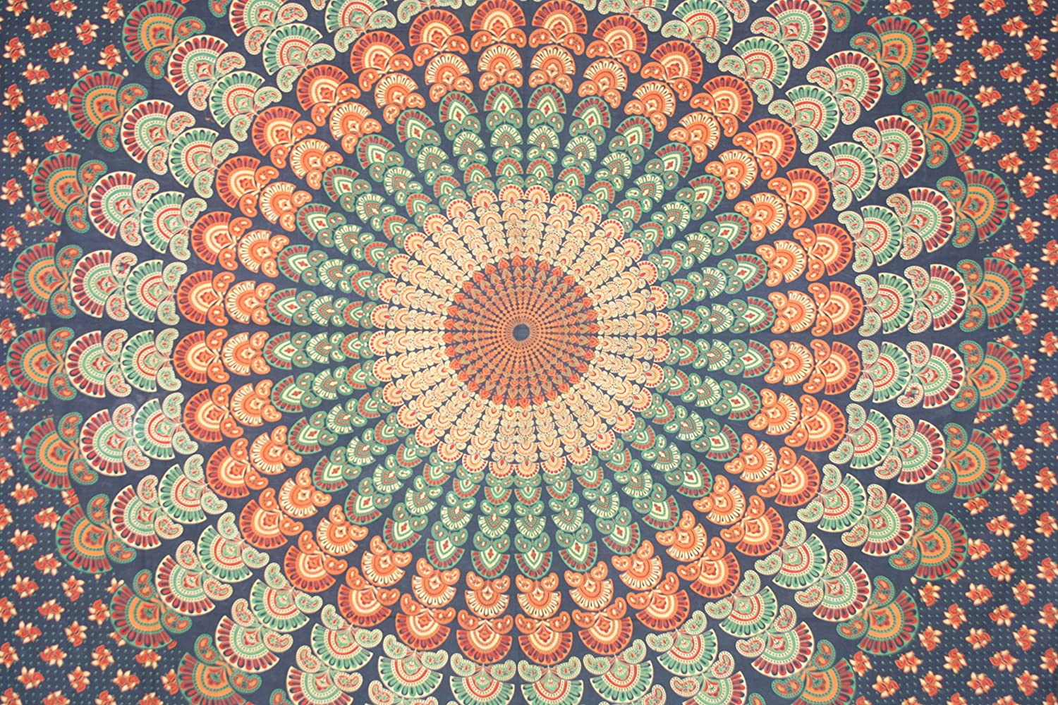 Blue Orange Indian Handmade tapestries Hand Print Psychedelic Mandala Tapestry hippie bed sheets bohemian bedding picnic sheet tapestries Morpankh