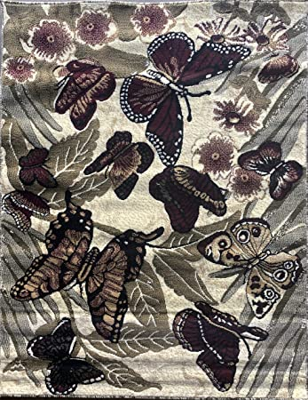 Butterfly Area Rug Burgundy Sage Green Beige Ivory Carpet King Design 5 Feet 2 Inch X 7 Feet 3 Inch Kitchen Dining