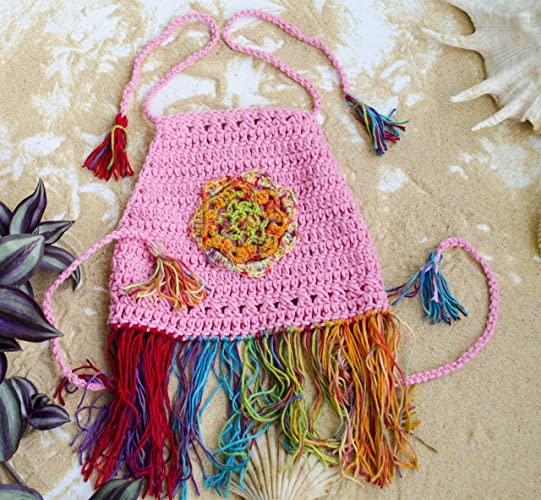 Amazoncom Pink Crochet Halter Tank With Mandala And Fringes For