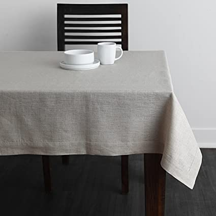 Solino Home 100% Pure Linen Plain Tablecloth Athena, Natural Rectangular Table  Cloth For Indoor
