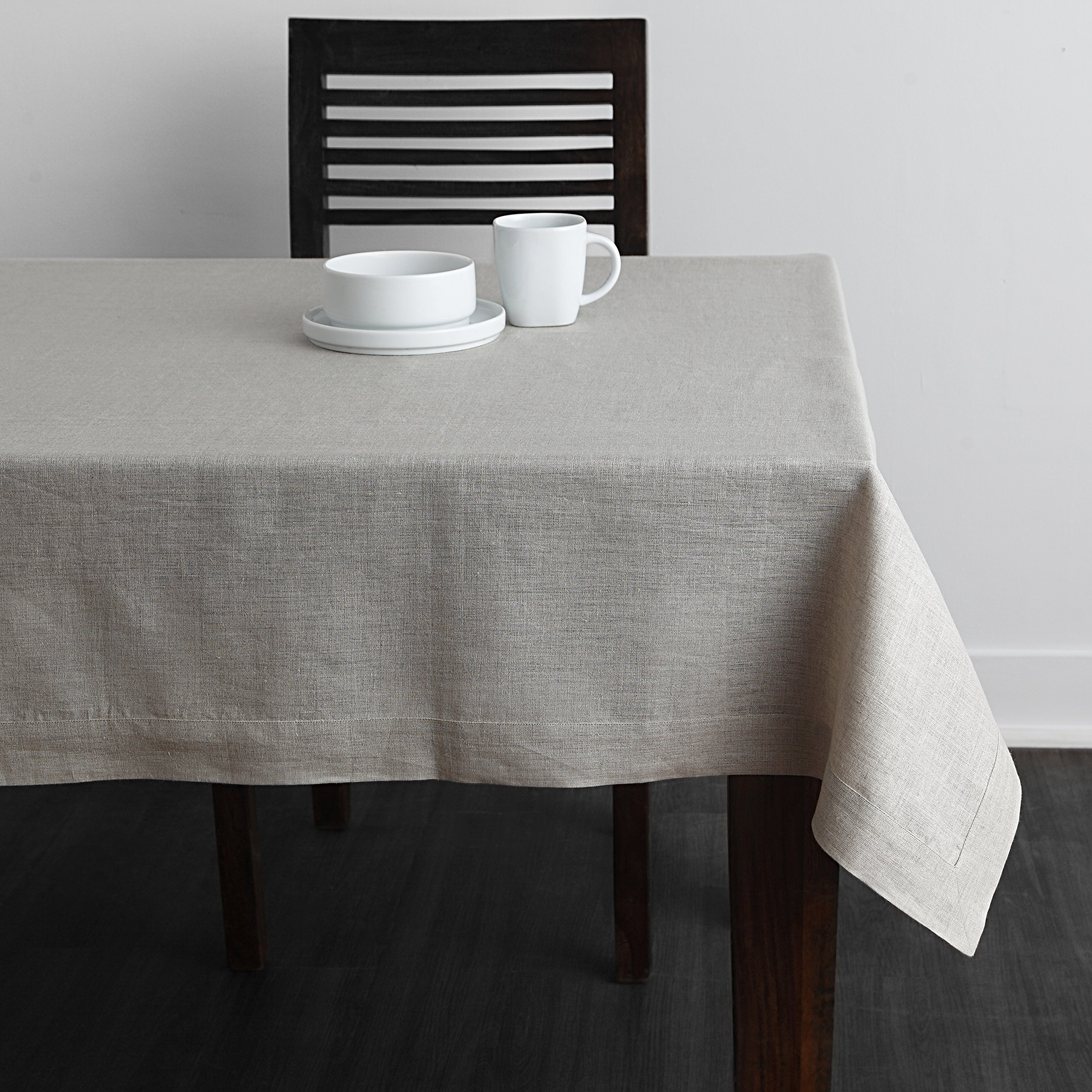 Solino Home 100% Pure Linen Plain Tablecloth Athena, Natural Rectangular Table Cloth for Indoor and Outdoor Use, 60 x 108 Inch Natural Tablecloth