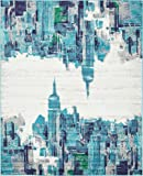 Modern Abstract 8 feet by 10 feet (8' x 10') Metro Turquoise Contemporary Area Rug