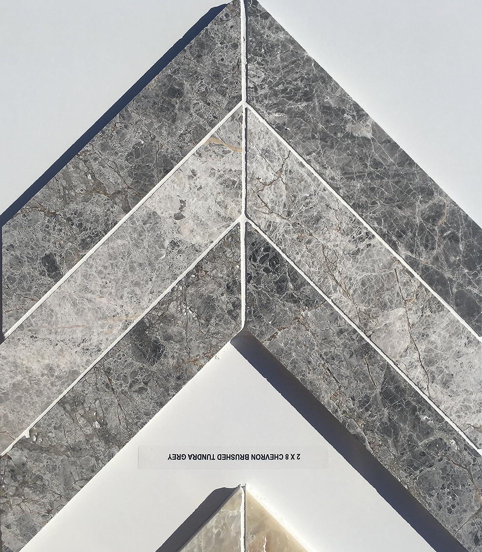 - 2 X 8 Tundra Grey Chevron Mosaic Tile Marble Backsplash - - Amazon.com