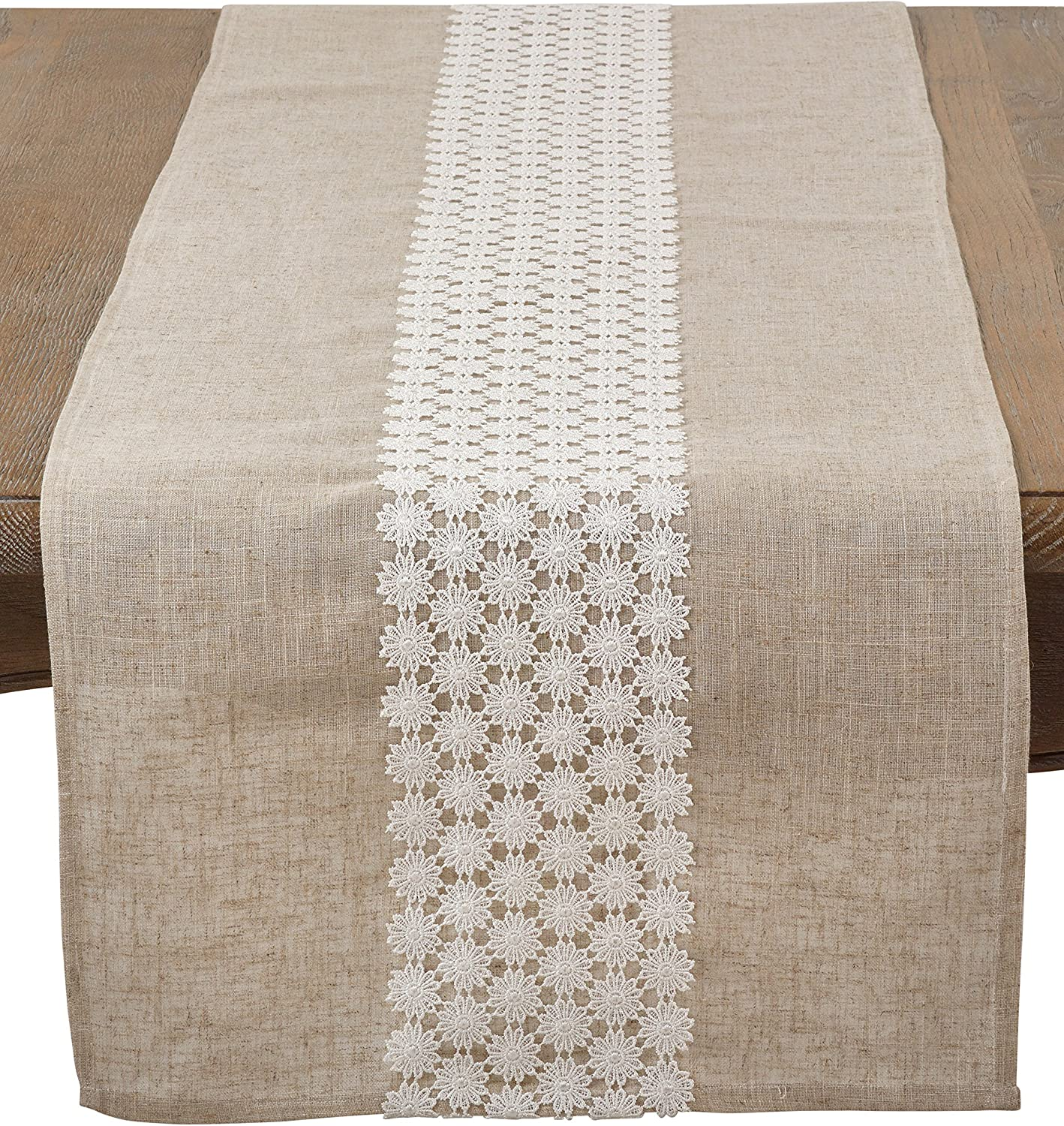 "SARO LIFESTYLE Daisy Lace Design Linen Blend Table Runner, 16"" x 72"", Natural"