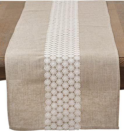 SARO LIFESTYLE Linen 623 Wavy Collection Corded Line Design Table Runner 16 x 72-Inch Navy Blue 16 x 72