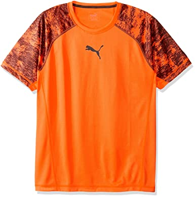 PUMA Men's Vent Short Sleeve Tee, Shocking Orange/Asphalt, Medium