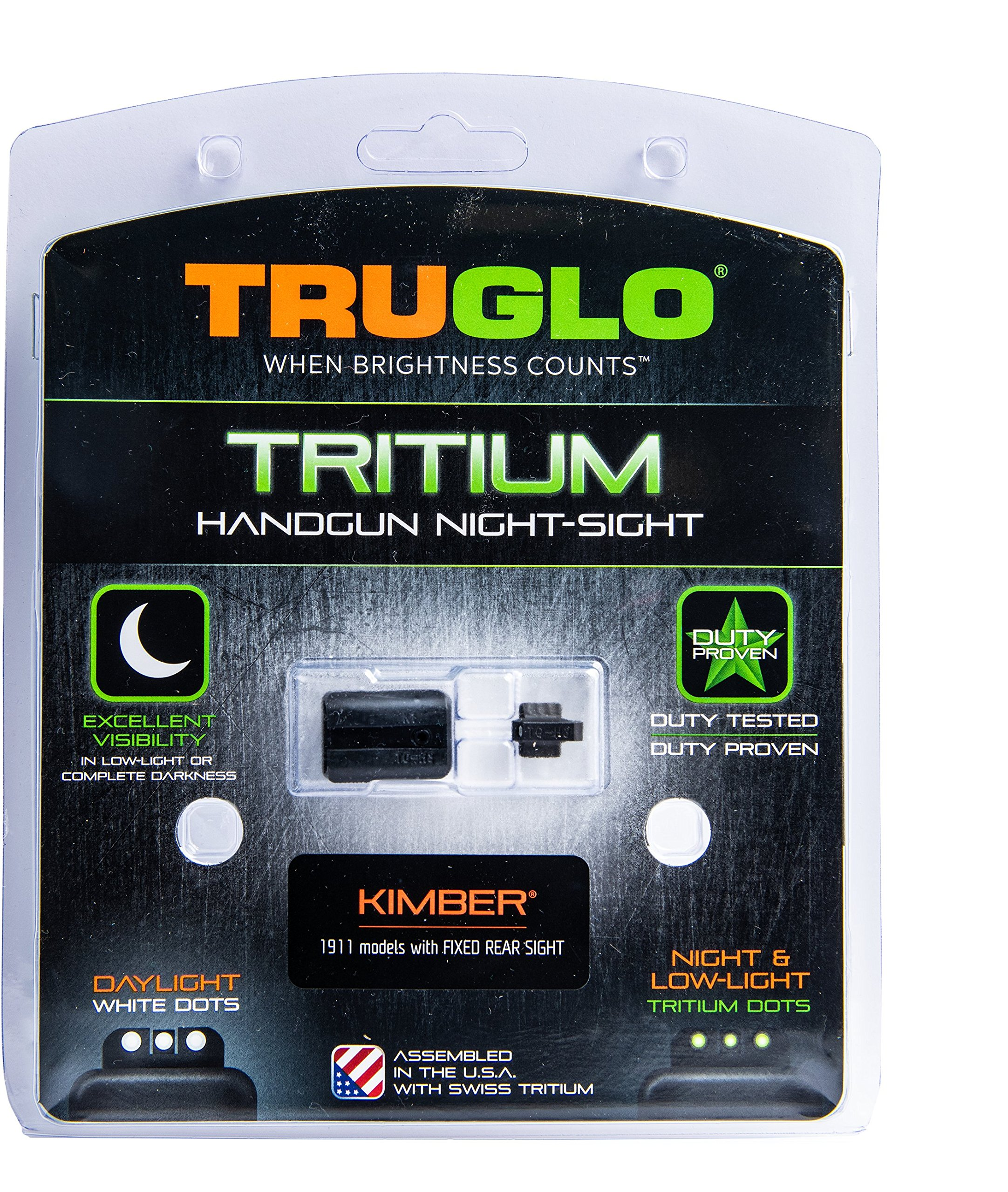 TRUGLO Tritium Handgun Glow-in-the-Dark Night Sights for Kimber Pistols, Kimber 1911 Models with Fixed Rear Sight by TRUGLO (Image #4)