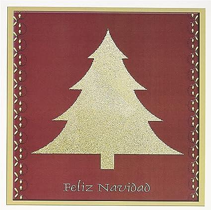 Buon Natale In Spagnolo.3drose Gc 26985 5 6 X 15 2 Cm Gold Tree On Red Feliz Navidad Buon Natale In Spagnolo Biglietto D Auguri Amazon It Cancelleria E Prodotti Per Ufficio