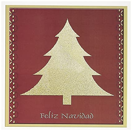 Merry Christmas In Spanish.Gold Tree On Red Feliz Navidad Merry Christmas Spanish Greeting Card 6 X 6 Inches Single Gc 26985 5