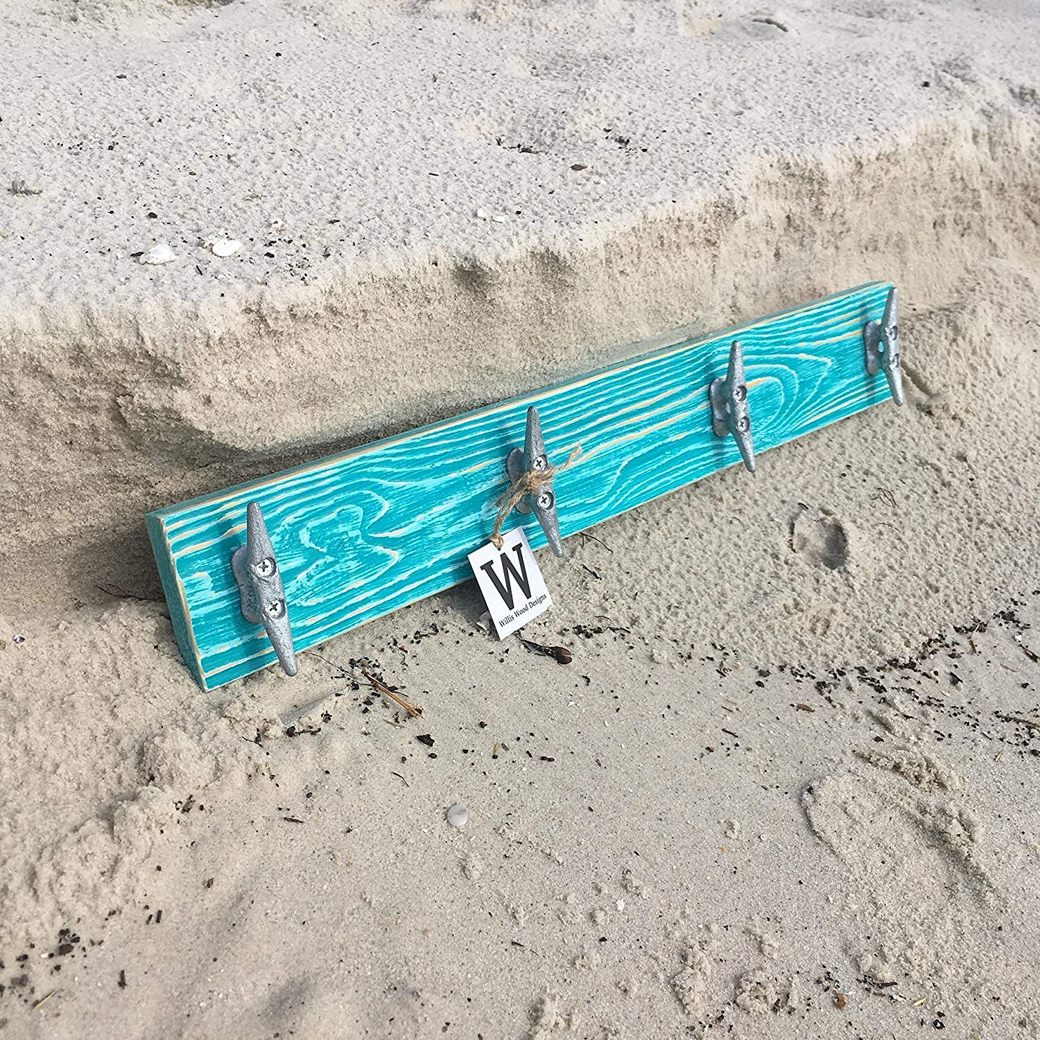 Nautical Boat Cleat Coat Rack, Distressed Teal, Towel Rack, Hat Rack, Book Bag Rack, or Key Rack