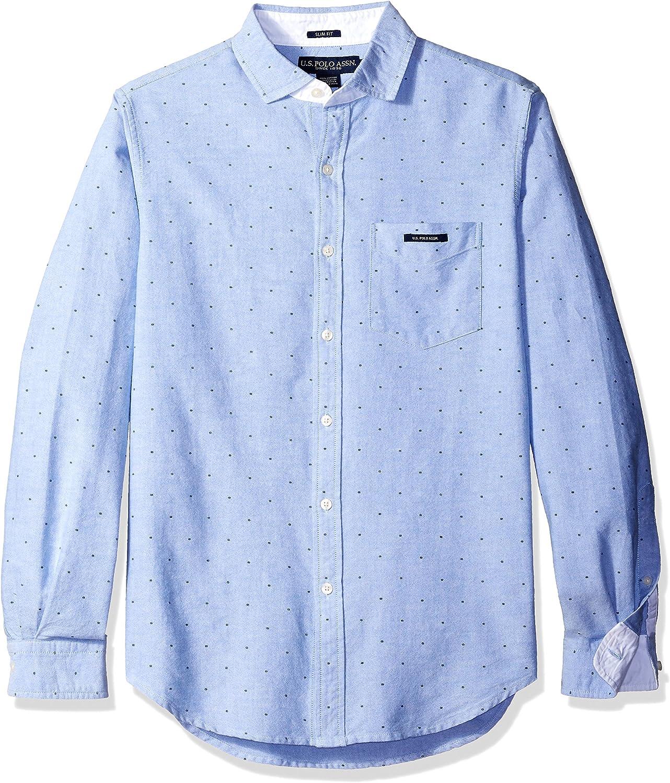 U.S Mens Dot Printed Oxford Cloth Spread Collar Sport Shirt Polo Assn