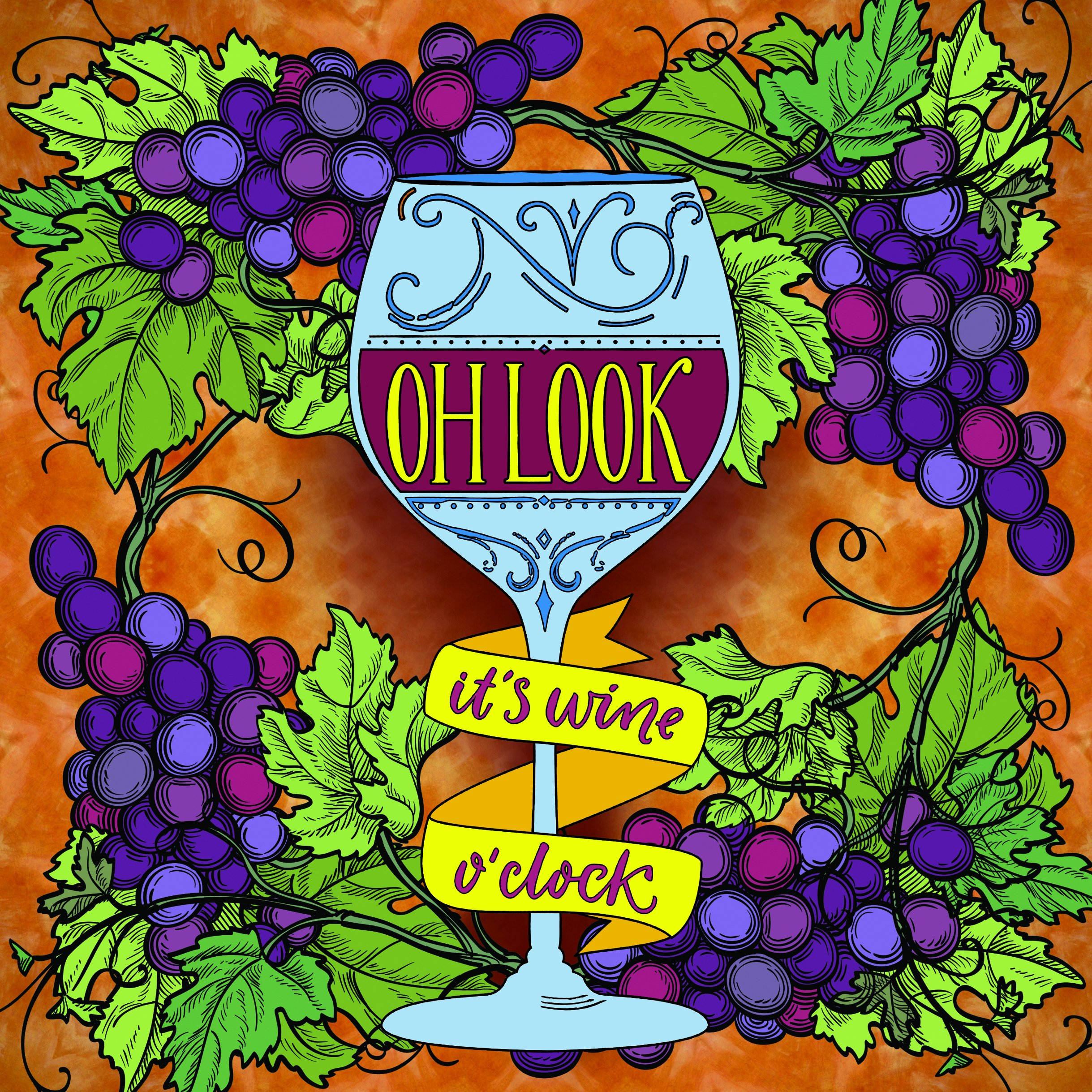 Amazon Oh Look Its Wine OClock Adult Coloring Book Set With 24 Colored Pencils And Pencil Sharpener Included Color Your Way To Calm 9781988603292