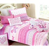 Cozy Line Home Fashions Butterfly Knit Bedding Quilt Set, 3D Print Pattern Pink Orchid Light Purple Heart Dot 100 % COTTON Bedspread Coverlet for Kids Girl NEW Arrival (Butterfly Knit, Twin - 2 piece)