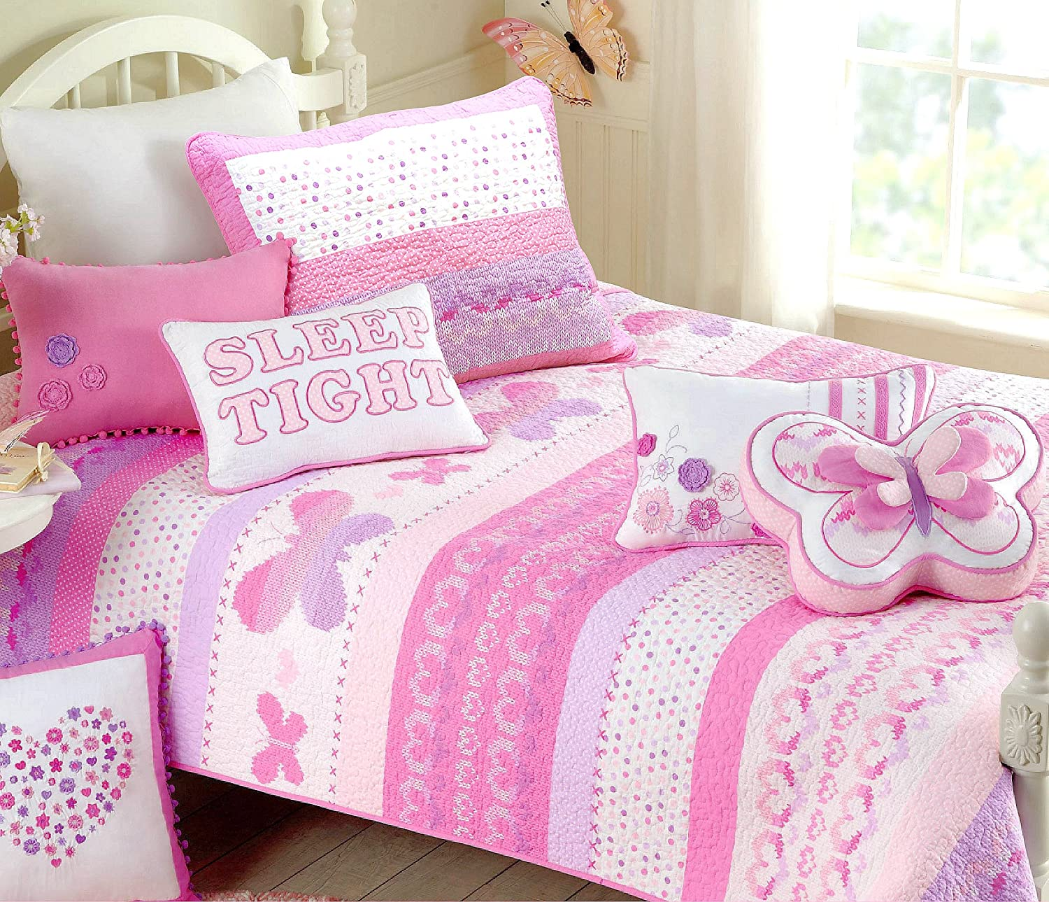Cozy Line Home Fashions Pink Butterfly Knit 100% Cotton Reversible Quilt Bedding Set, Coverlet, Bedspreads (Full/Queen - 6 Piece: 1 Quilt + 2 Standard Shams + 3 Decorative Pillows)