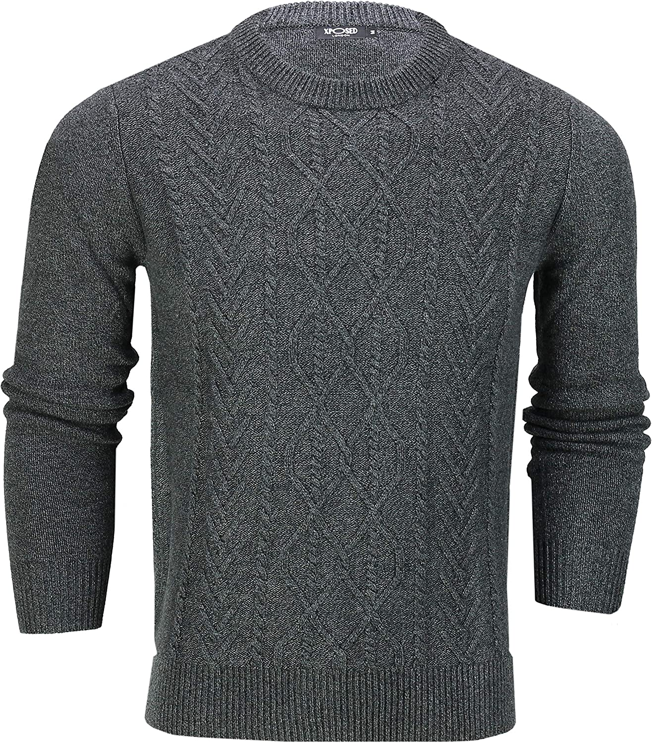 Xposed Mens Crew Neck Jumper Chunky Cotton Cable Knit Top Classic Winter Knitwear Sweater