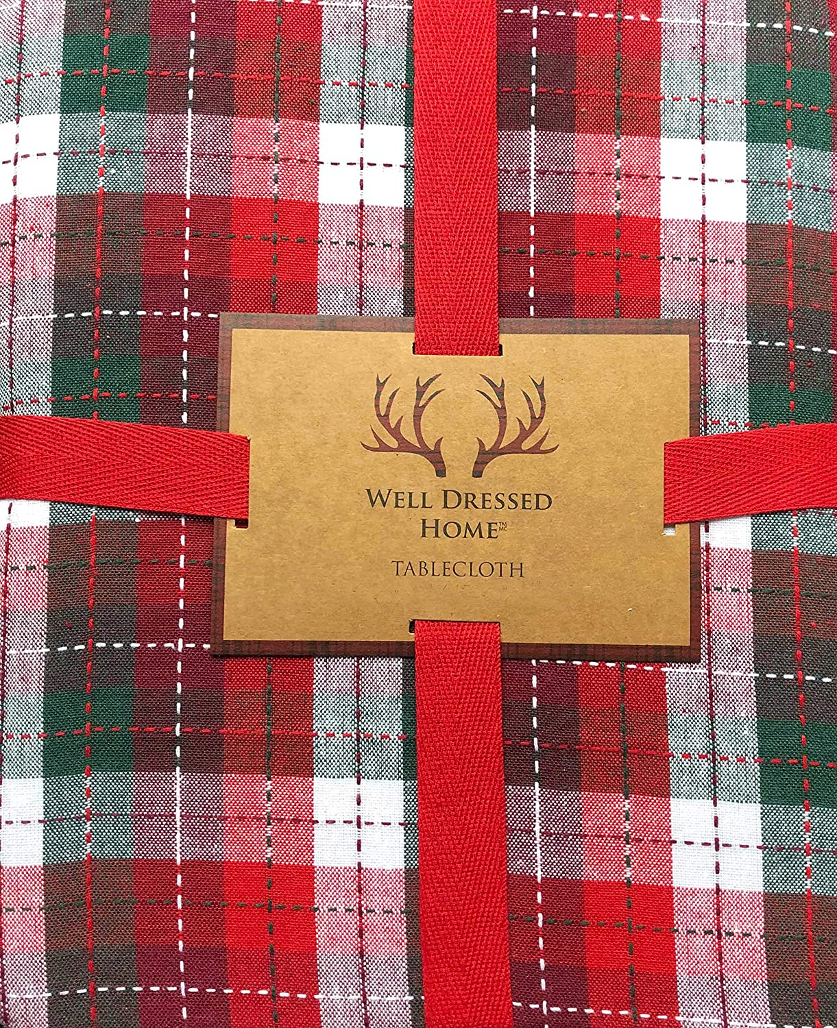 Well Dressed Home Tablecloth Holiday Christmas Plaid Pattern with Red Green White Checked Checkered Stripes, and Thin Sewn Red Green White Thread Stripes 60 Inches x 84 Inches