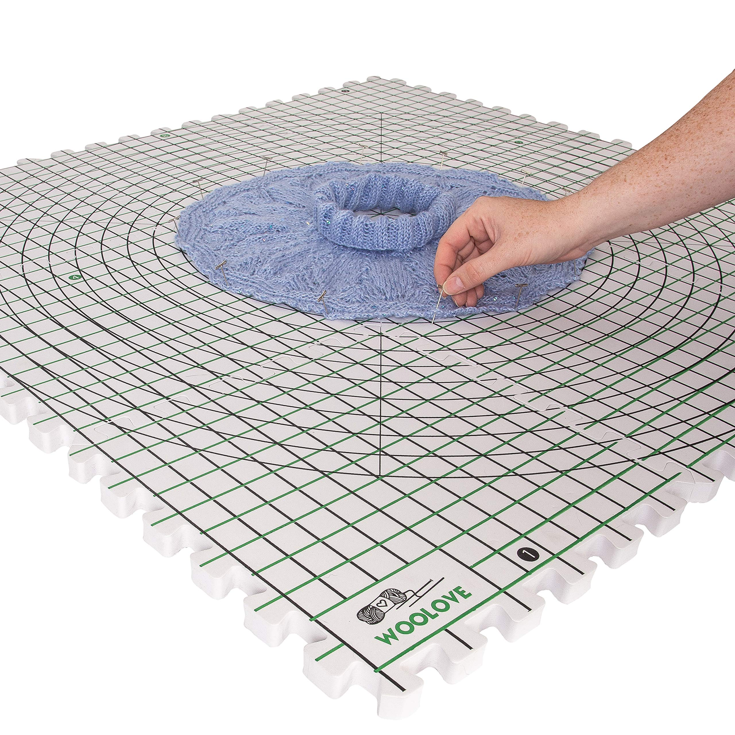 Extra Thick Blocking Mats for Wet and Steam Blocking with Grids and Radial Circles - Set of 9 Marked with Numbers Includes 100 t pins and Storage Bag by WOOLOVE (Image #5)