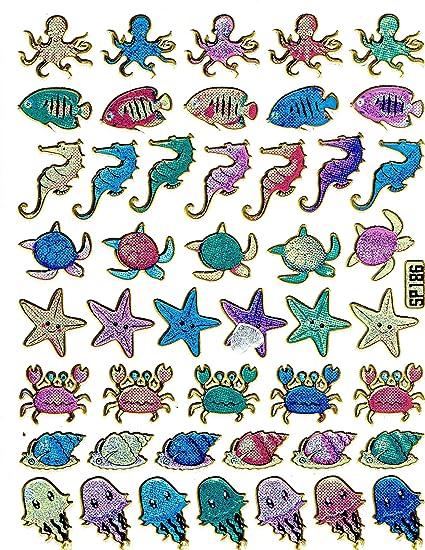 Fische Seepferdchen Seesterne Muscheln Aufkleber 46 Teilig 1
