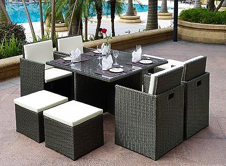 Set Di Mobili Da Giardino In Rattan A Forma Di Cubo 9 Pezzi Tavolino In Vetro 4 Sedie E Sgabello Amazon It Giardino E Giardinaggio