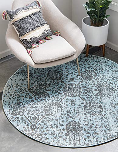 Unique Loom Baracoa Collection Bright Tones Vintage Traditional Light Blue Round Rug 8 4 x 8 4