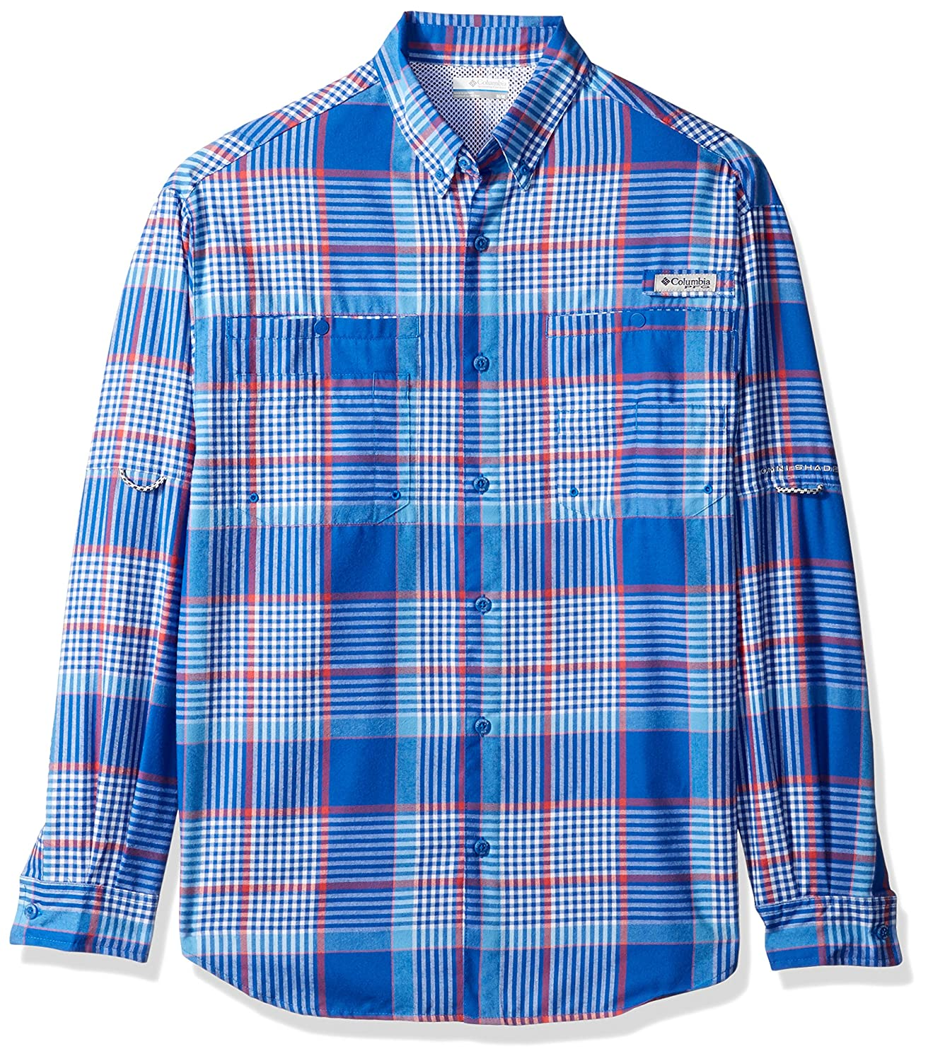 Columbia Men's Tamiami Flannel Long Sleeve Shirt, Vivid Blau Plaid, Small