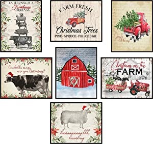 Silly Goose Gifts Vintage Themed Beautiful Christmas Art Print Wall Art Sets (Country Christmas)