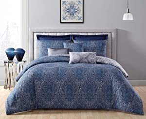 Geneva Home Fashion Candice 8pc Reversible Euro Shams Comforter Set, King, Navy