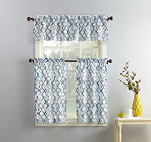 "No. 918 Barker Geometric Print Microfiber 3-Piece Kitchen Curtain Set, 54"" x 36"", White"