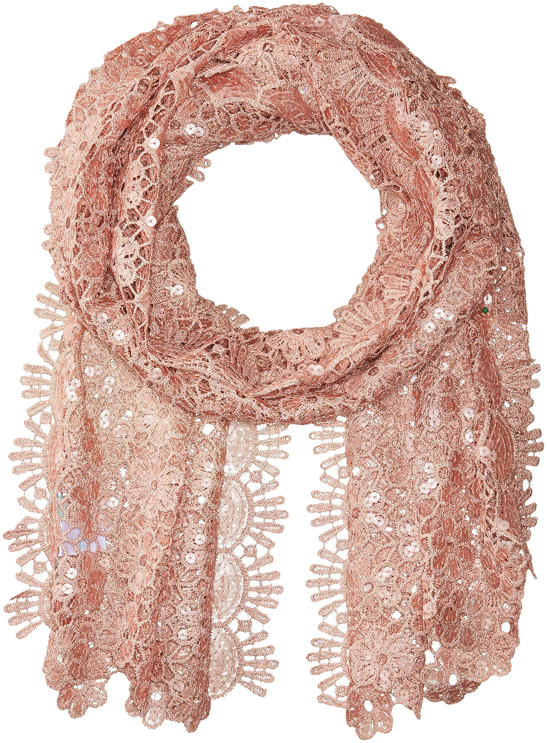 Betsey Johnson Women's Sequin Scallped Edge Crochet Evening Wrap, Blush, one Size by Betsey Johnson