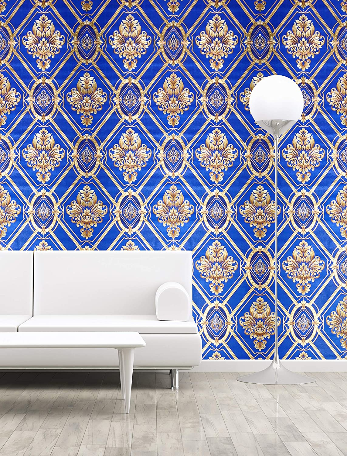 Buy Konark Designer Wallpapers Damask Design Wallpaper Vinyl Blue And Gold 57sqft Online At Low Prices In India Amazon In