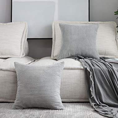 HOME BRILLIANT Decor Throw Pillows Striped Velvet Cushion Cover for Chair Decorative Pillowcase, Set of 2, Light Grey, 18 x18 (45cm)