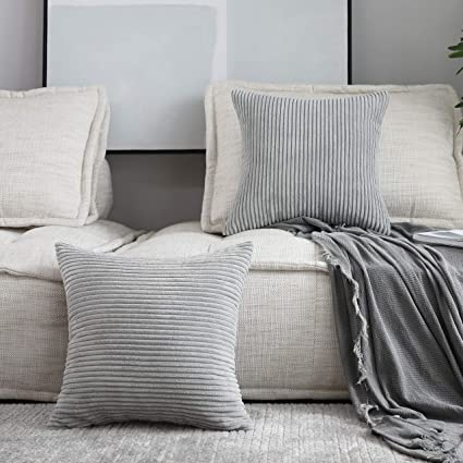 Astounding Home Brilliant Set Of 2 Decorative Pillows Covers For Couch Striped Velvet Sofa Pillows Cover 16 X 16 Inch 40X40Cm Light Grey Cjindustries Chair Design For Home Cjindustriesco