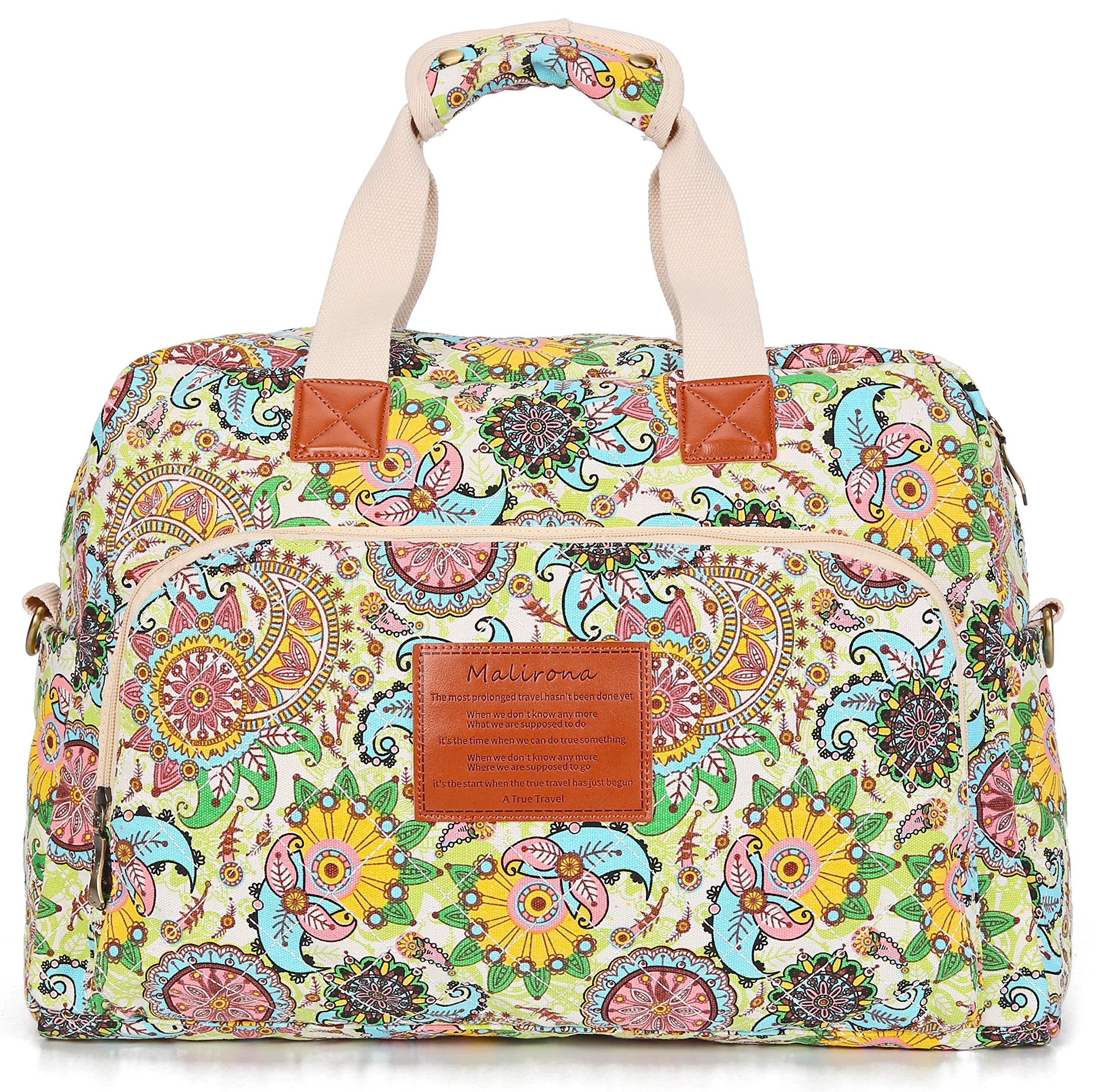 Malirona Canvas Overnight Bag Women Weekender Bag Carry On Travel Duffel Bag Floral Design (Flower) by Malirona (Image #2)