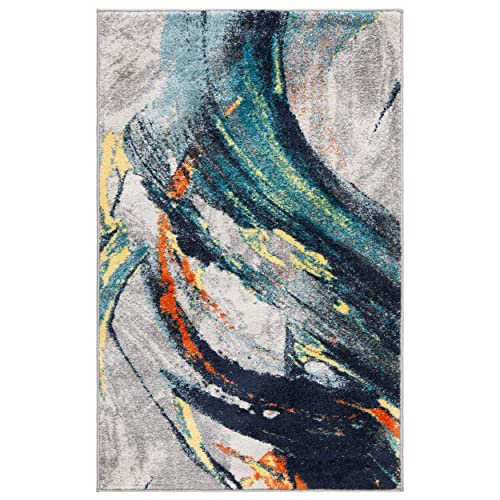 Safavieh Porcello Collection PRL8261A Light Grey and Blue Modern Abstract Area Rug 4 x 6