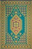 Mad Mats Oriental Turkish Indoor/Outdoor Floor Mat, 5 by 8-Feet, Aqua