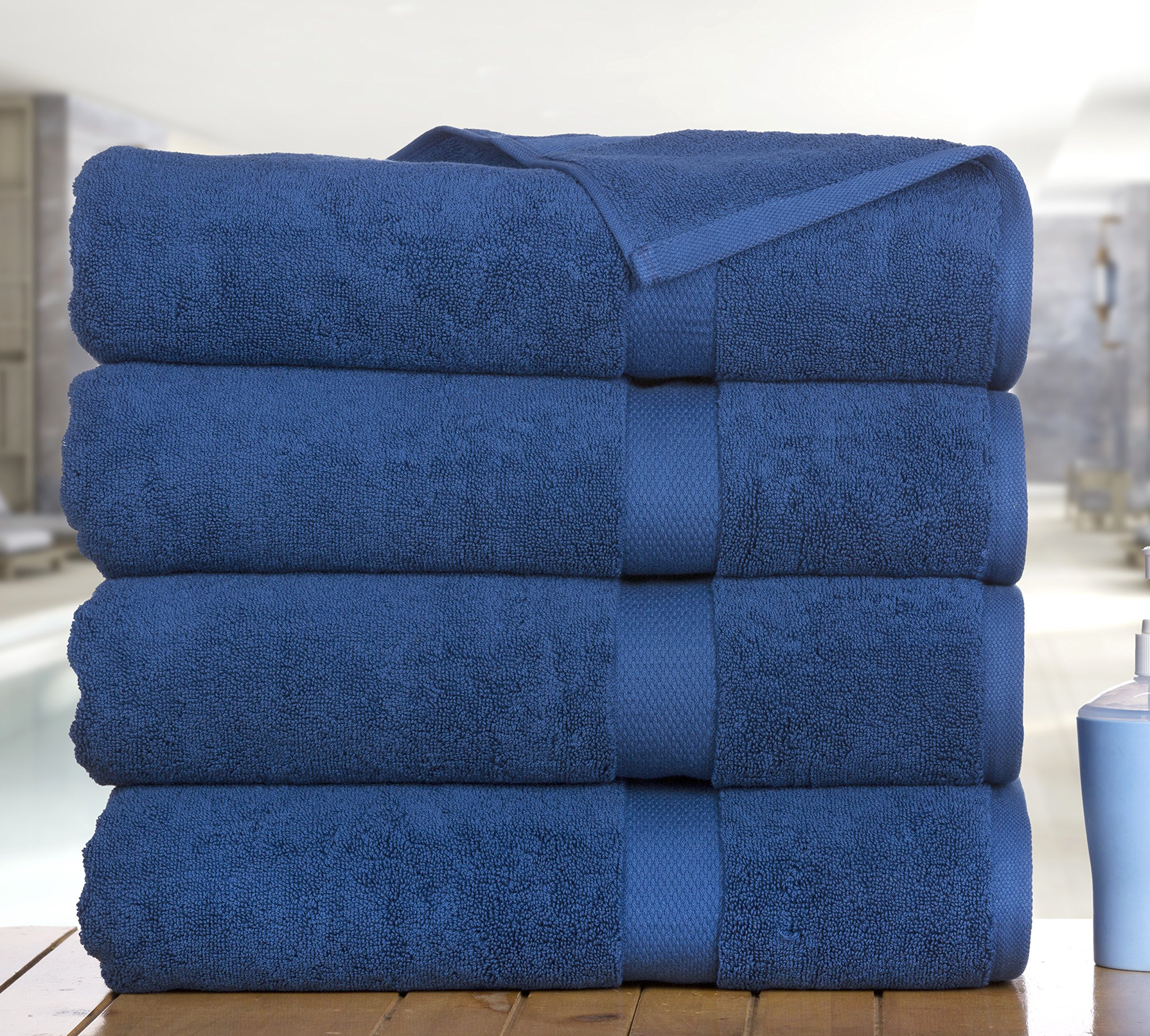 Madhvi Collection 800 GSM Premium Combed Cotton Extra Large 30 x 60 Inch Bath Towels 4 Pack, Oversized and Heavy Bath Towel Set, Hotel and Spa Towels Set With Maximum Softness, High Absorbency (Navy) by Casa Platino (Image #3)