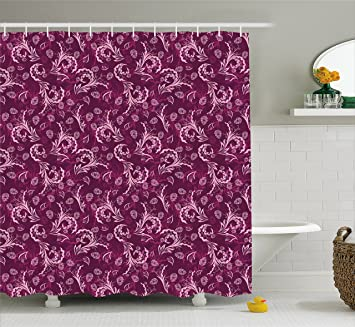 Ambesonne Floral Shower Curtain Victorian Old Fashioned Swirled Petals Florets In Colors Image Fabric