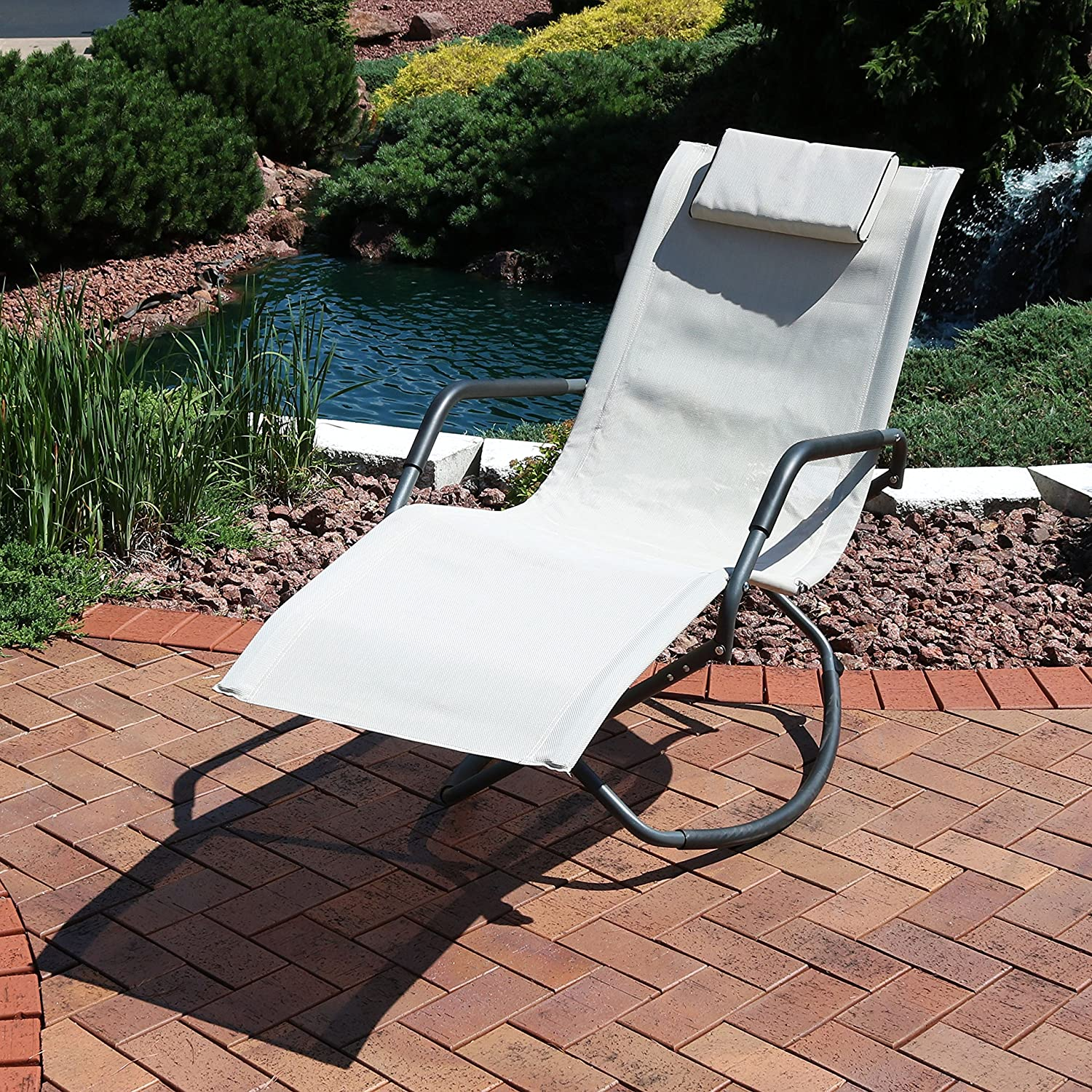 Sunnydaze Rocking Chaise Lounge Chair with Headrest Pillow, Outdoor Folding Patio Lounger, Beige